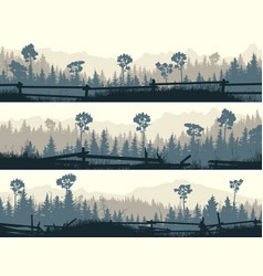 horizontal banners meadows and cattle fences vector image