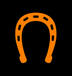 horseshoe sign orange icon on black vector image