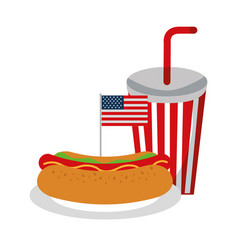 hot dog soda flag american food celebration vector image