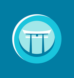 Japanese gate torii flat icon logo circular vector