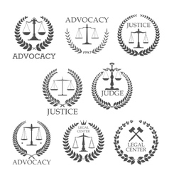 Lawyer office and law firm design templates vector