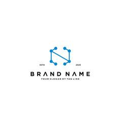 Letter n tech logo design vector