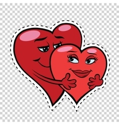 Love couple hug red hearts Valentines vector