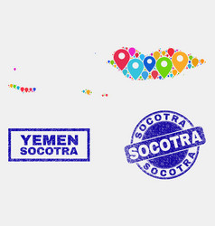 Map pointers collage socotra archipelago map vector