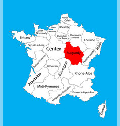 map state burgundy location on france vector image