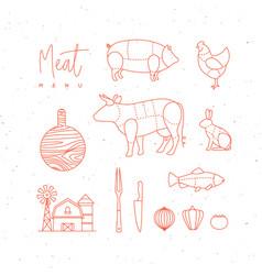 meat menu flat design elements vector image