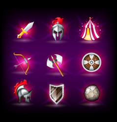 medieval icons set knight helmet roman empire vector image