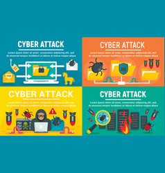 modern cyber attack banner set flat style vector image