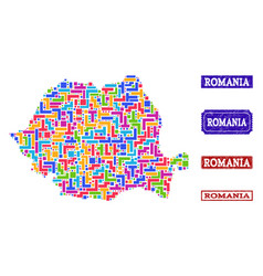 Mosaic map of romania and textured seals vector