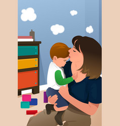 mother holding her son vector image