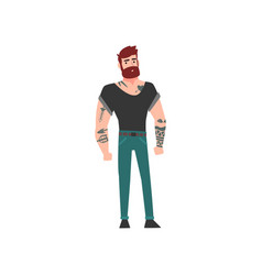 muscular hipster bearded man with tattoo vector image