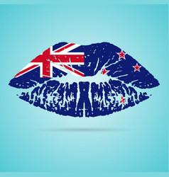 New zealand flag lipstick on the lips isolated on vector
