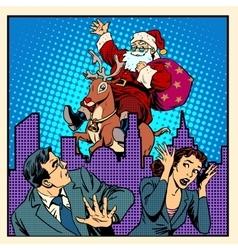 Nightmare holidays santa claus on reindeer vector
