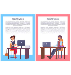 office work posters set business people man woman vector image