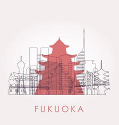 outline fukuoka skyline with landmarks vector image