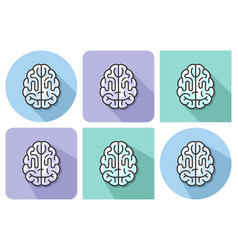 outlined icon human brain with parallel and vector image