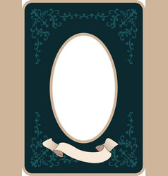 oval vintage style frame with ornamental motifs vector image