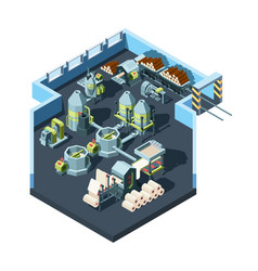 Paper production factory industrial interior with vector