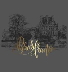 paris france golden lettering inscription on dark vector image