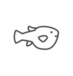 puffer fish line outline icon vector image