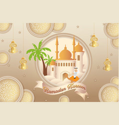 Ramadan kareem and ramazan mubarak with colorful vector