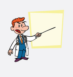 Red-haired doctor points out angry with a pointer vector