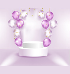 Round pedestal with balloons and confetti scene vector