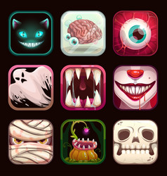 Scary app icons on black background creepy mobile vector