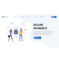 secure payments landing web page vector image