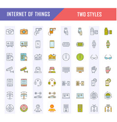 set flat line icons internet things vector image