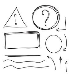 set hand drawn text box vector image