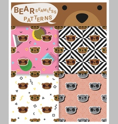 Set of animal seamless patterns with bear 2 vector image
