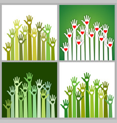 set of green volunteers caring up hands hearts vector image