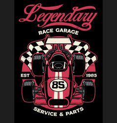 Shirt design vintage formula car racing vector