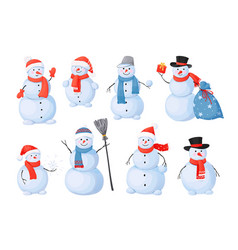 snowman cartoon christmas characters with happy vector image