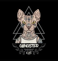 Sphynx cat tattoo gangster vector