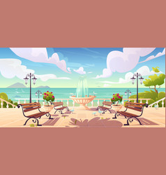 Summer seafront with fountain and benches vector