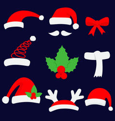 three red santa hats and christmas stocking vector image