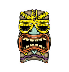 Traditional tiki island mask with gold vector