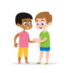 two happy firends handshake vector image
