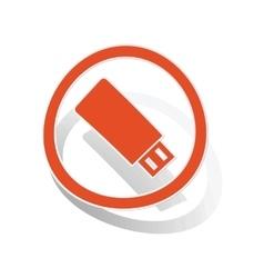 USB stick sign sticker orange vector