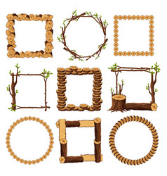 Wooden frames set isolated on white background vector