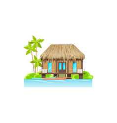 wooden hut house on water with canoe boat isolated vector image