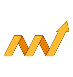 Yellow growth arrow chart icon cartoon style vector image