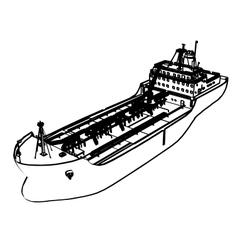 Large tanker ship vector