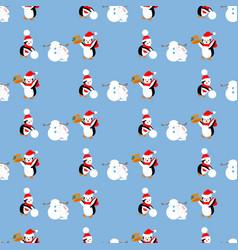 penguins build a snowman pattern vector image