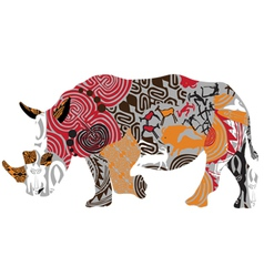 Silhouette of a rhinoceros in ethnic patterns vector