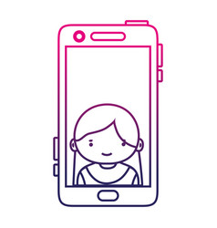 silhouette smartphone technology with girl person vector image vector image