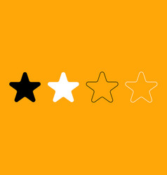 star black and white set icon vector image vector image