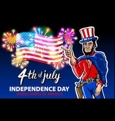 a men celebrating independence day poster vector image
